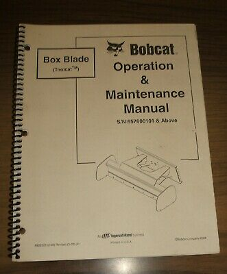 Bobcat Box Blade Toolcat Operation Maintenance Manual