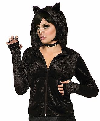 Womens Black CAT Hoodie Hooded Zipper Jacket Fancy Dress Halloween Outfit Adult - Black Outfit Halloween