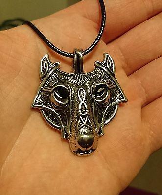 Wolf Fenriswolf Kopf Anhänger Hund viking nordisch Rune Fenrir Wikinger