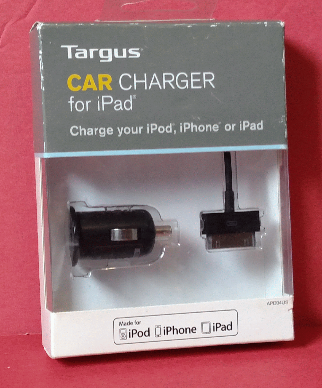 Targus Car Charger 12V DC and 30-Pin Sync/Charge Cable for A