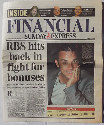 ROBBIE WILLIAMS Magazine Financial Sunday Express - Robbie Cover  2001 April 1