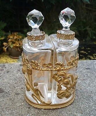 ANTIQUE PARIS BACCARAT GLASS & ORMOLU STAND PERFUME SCENT BOTTLES ART NOUVEAU
