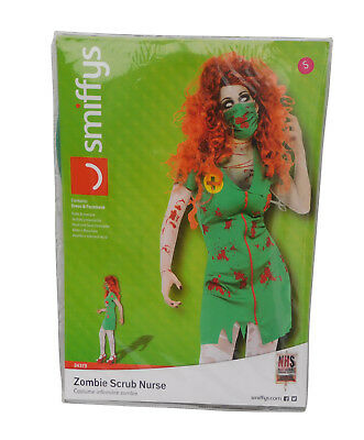 Smiffys Zombie OP Schwester Krankenschwester Kleid + Gesichtsmaske Grün NEU