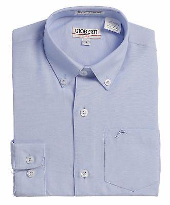 Boys Dress Shirt Oxford Uniform Solid Button Down Long Sleeve Kids Size 4-18 New