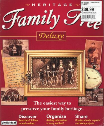 Heritage Family Tree DeLuxe Software For Windows PC - New Factory Sealed