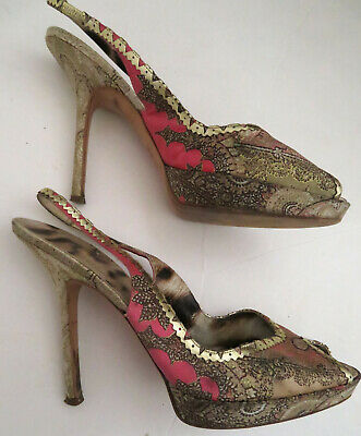 ROBERTO CAVALLI peeptoe heels shoes I 40 Slingback satin print gold lthr trim ()