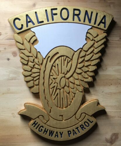 California Highway Patrol Wings and Wheels 3D routed wood patch Sign Custom