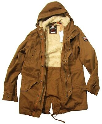 Superdry Men's Rusty Gold Brown New Military Parka Hooded Jacket