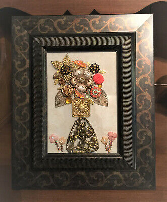 Rose, Complex Floral Design, Framed Jewelry Art, Hand Made, One of a Kind