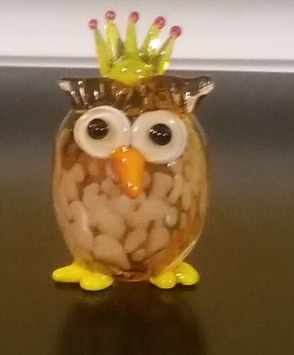 Glass Owl Figurine - Milano Owl w/ Crown by LS Arts  # MA-088 - NEW with Box