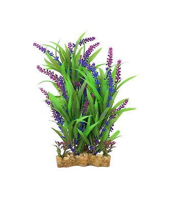 Aquarium Decor Fish Tank Ornament Artificial Plastic Plant Green/Purple, 11-inch