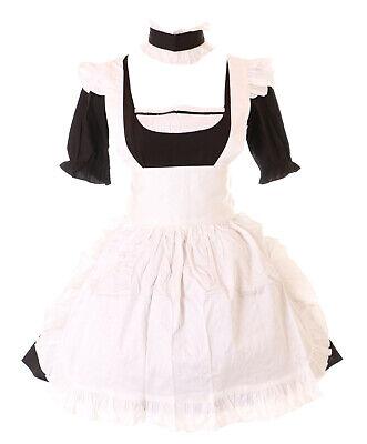 JL-576-6 schwarz Maid Zimmermädchen Zofe Gothic Lolita Kleid Kostüm - Gothic Mädchen Kostüm