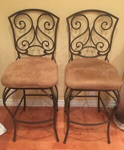 Bar stools, elegant dark bronze wrought iron backing