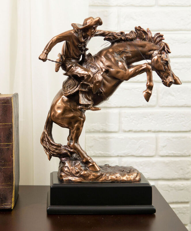 Ebros Wild West Rodeo Cowboy Training A Rearing Bronco Horse Statue W/ Base