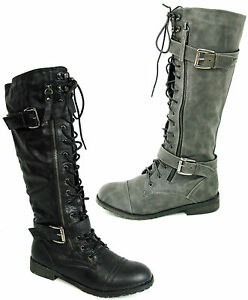WOMANS-LACE-UP-ARMY-BIKER-KNEE-HIGH-BLACK-LADIES-MILITARY-BOOTS-SIZE-3-4-5-6-7-8