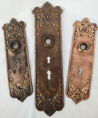 """Set of 3 Antique Corbin """"Lorraine"""" Brass Door Plates"""