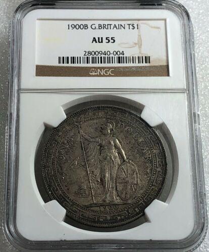1900 B China UK Great Britain Silver Trade Dollar NGC AU 55 Nice Toning