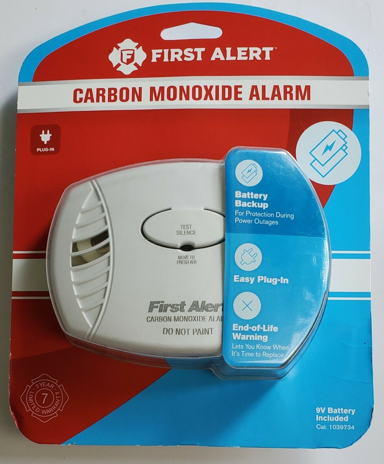 First Alert FAT1039734 Plug-in Carbon Monoxide Alarm with Ba