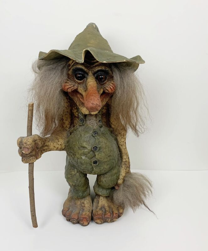 """NyForm Large 18"""" Norway Vintage Old Man Troll With Stick & Hat"""