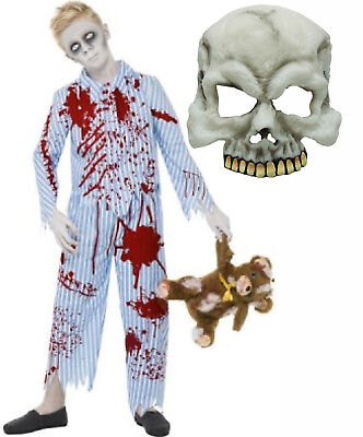 Boys Undead Corpse Zombie Pyjama Pajama Halloween Fancy Dress Costume + Mask