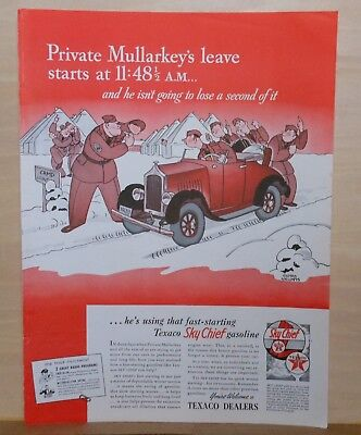 1941 magazine ad for Texaco - Gluyas Williams art, Pvt. Mullarkey goes on leave