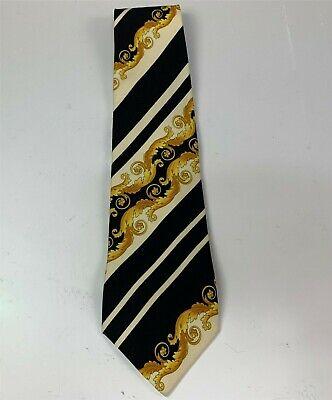 Gianni Versace 100% Silk Necktie, Black & Gold