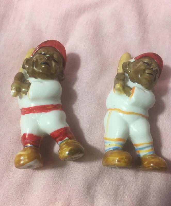 "Pair 3"" Black Baseball Player Figurines Black Americana Unsigned NOS"