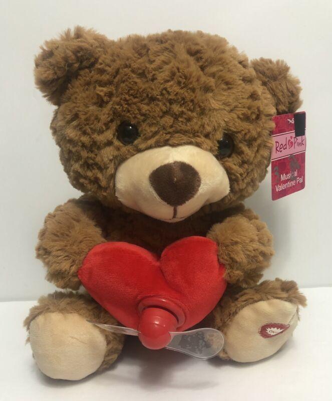 New - Red Pink Musical Valentine Pal - Brown Bear- Sings  MY GIRL