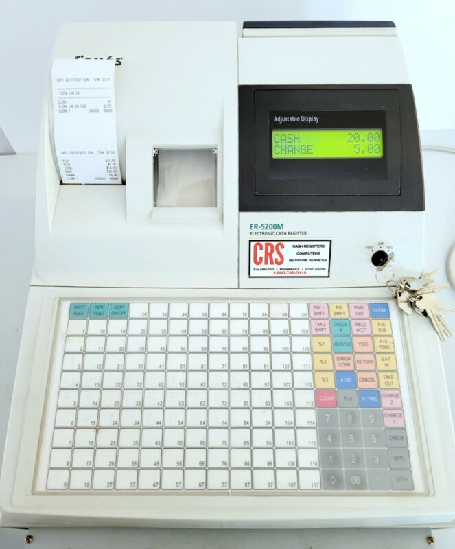 SAM4S RE-5200M Cash Register Thermal Printer w 2 Sets Keys and Paper - Working