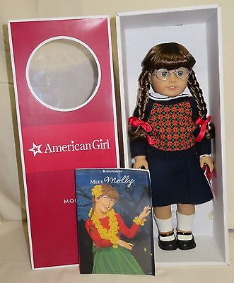 """MOLLY American Girl 18"""" Doll NEW in Box with Book Glasses AG Retired"""