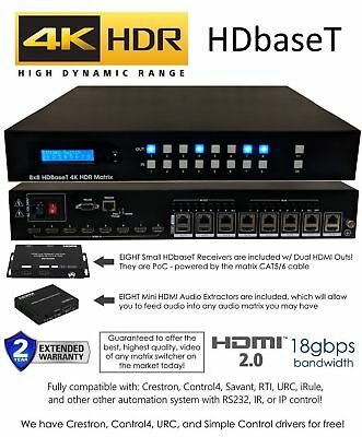 8x16 HDR 18GBPS HDbaseT 4K MATRIX SWITCHER with 8 Receivers HDMI IR UHD 8x8 for sale  Shipping to India