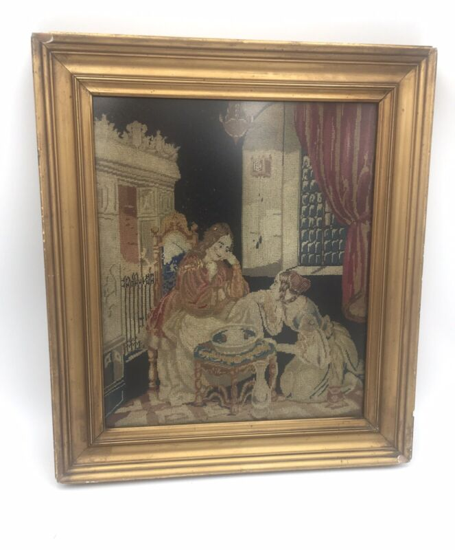Antique embroidery / tapestry piece in antique gold frame, FREE SHIPPING
