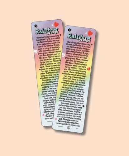 """Rainbow Bridge"" Poem - Pet Loss or Memorial - 2 Verse Bookmarks - sku# VBM977"