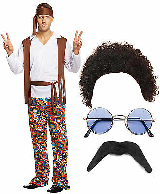 Hippy Hippie Man 60s 70s Fancy Dress Costuem Outfit Afro Wig Shades Glasses Tash](60s Outfit Men)