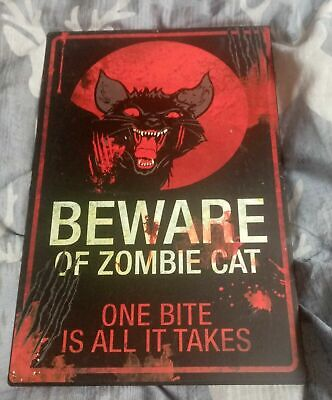 Vintage Funny Metal Tin Sign Kitchen Club Beware Zombie Cat Art Home Wall Poster