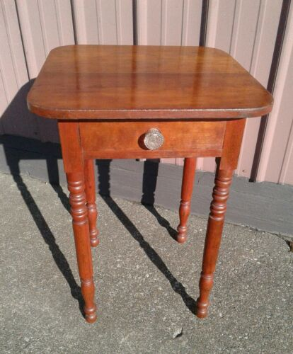Antique Cherry One Drawer Stand with Sandwich Glass Knob 1860s Era