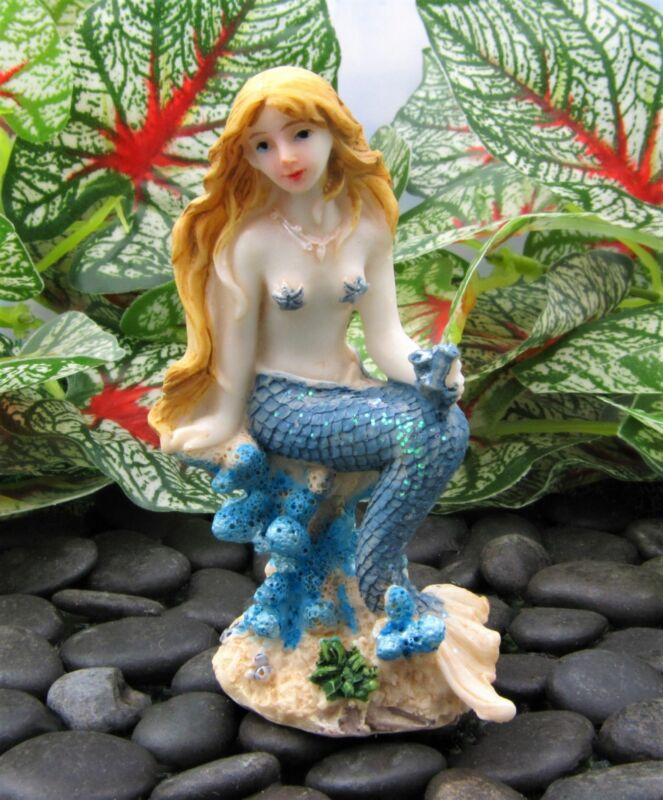 Miniature Fairy Garden Sitting Mermaid w/ Blue Tail - Buy 3 Save $5