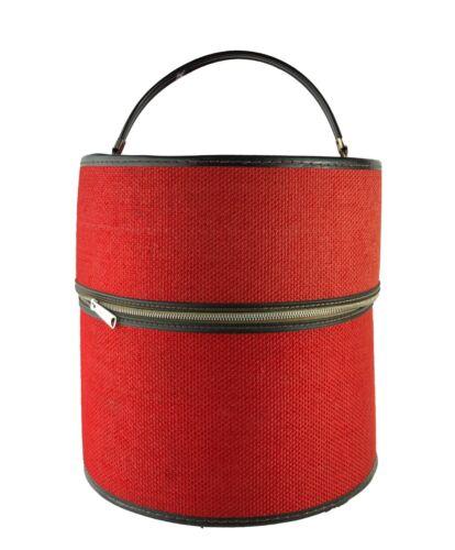 Vintage 1960s Bagmaster Red Zippered Large Hat Wig Box Hollywood Florida