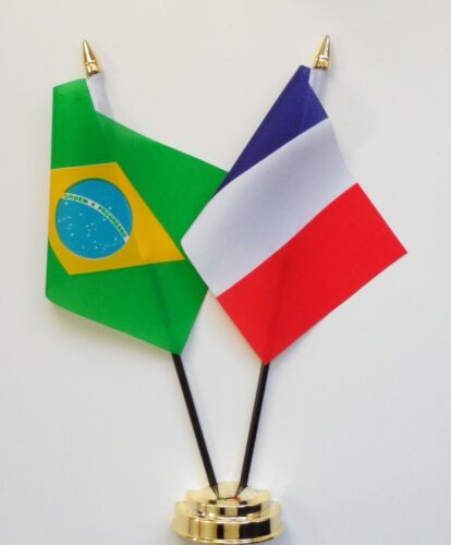Brazil & France Double Friendship Table Flag Set
