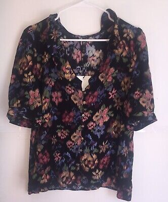 Zara Trf Collection Ladies Button Up Floral Print Blouse New With Tag Size L