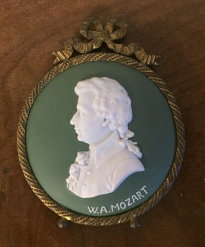 Antique Jasperware Wedgwood Style Wall Plaque in Bronze Frame Mozart Bust