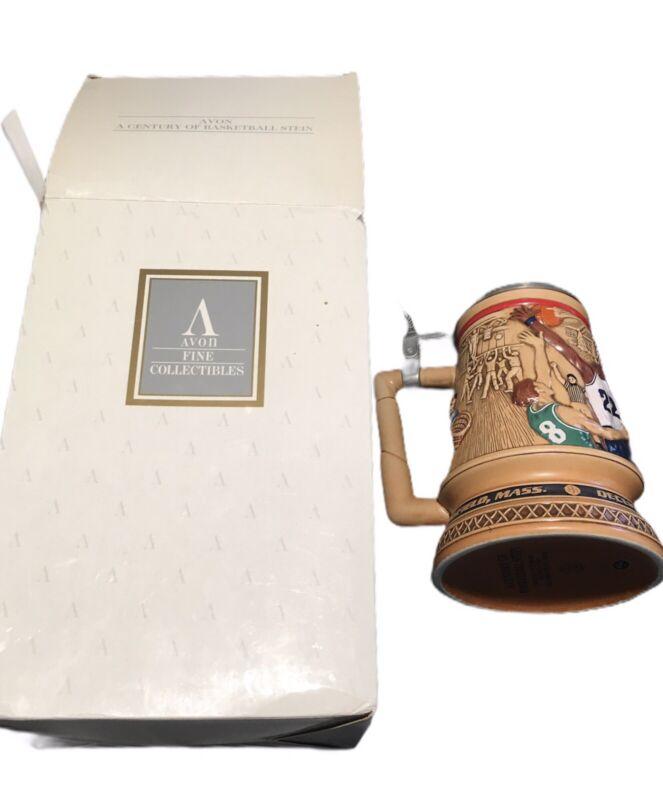 """Vintage 1993 Avon """"A Century Of Basketball"""" Beer Stein - In Original Box"""