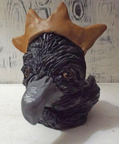 Folk Art Hand Sculpted Raven Crow Face Pottery Pot One a Kind Original