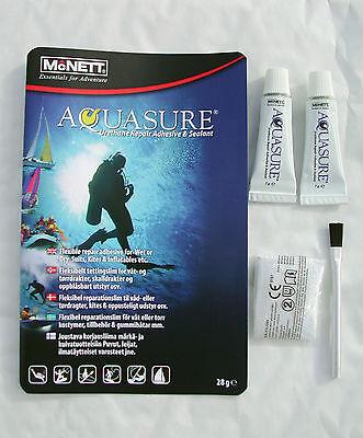 AQUASURE neoprene DRY/ WET SUIT TWIN pk diving repair glue ADHESIVE seal BOOTS
