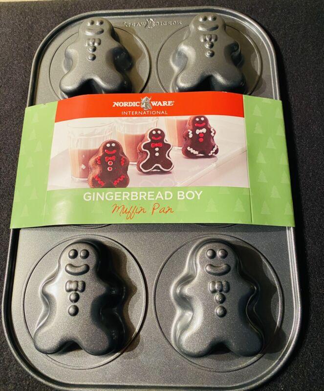 NWT NORDIC WARE Gingerbread Boy Muffin Pan