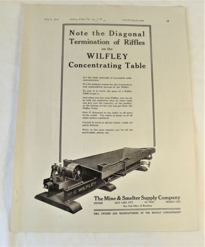 1913 Wilfley Concentrating Table Mine & Smelter Supply Mining Equipment Print Ad