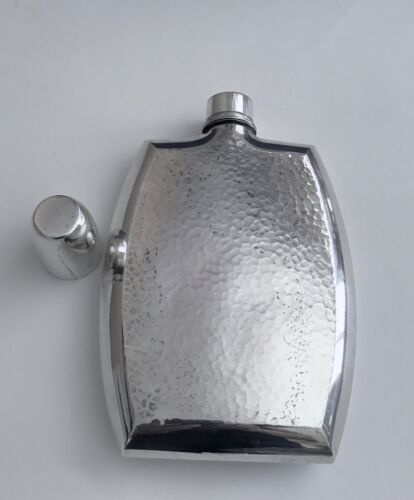 Vintage Arts & Crafts Hammered Silver Hip Flask