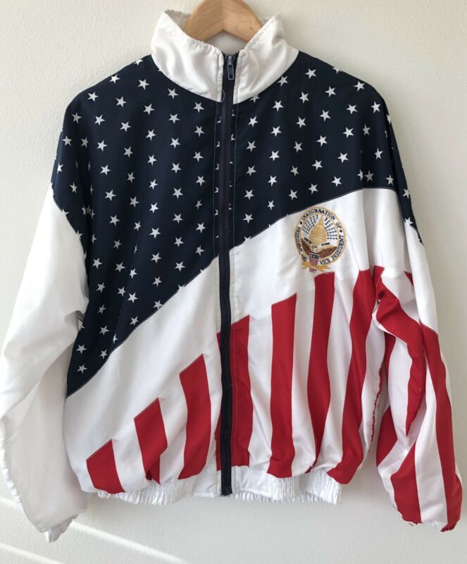 VTG 1997 President Inauguration Clinton Gore USA Flag Windbreaker Men's Size M