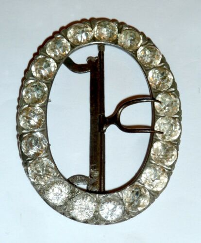 A GEORGIAN SILVER TONE & STEEL BELT BUCKLE WITH DIAMANTES & MOVABLE PRONGS