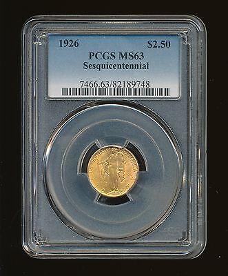 1926-P Sesquicentennial $2.50 Gold Commemorative PCGS MS 63 RARE LOW MINTAGE